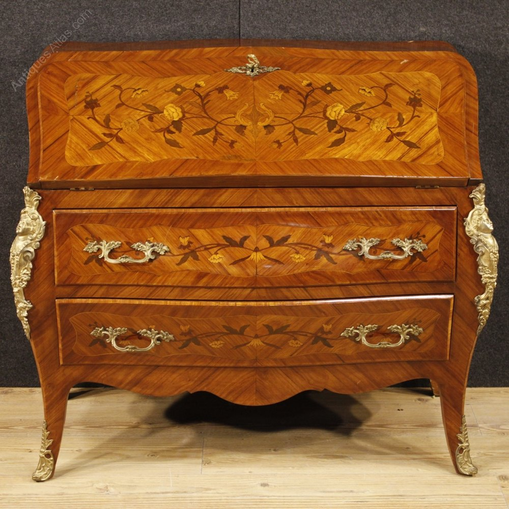 Antiques atlas 20th century inlaid bureau in louis xv style for Bureau louis xv