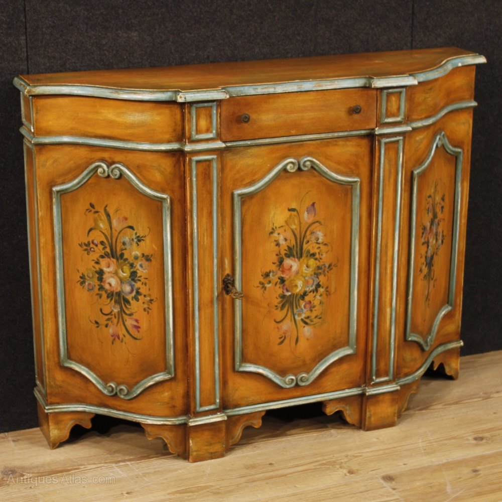 Painted Wooden Sideboard ~ Th century italian sideboard in painted wood antiques