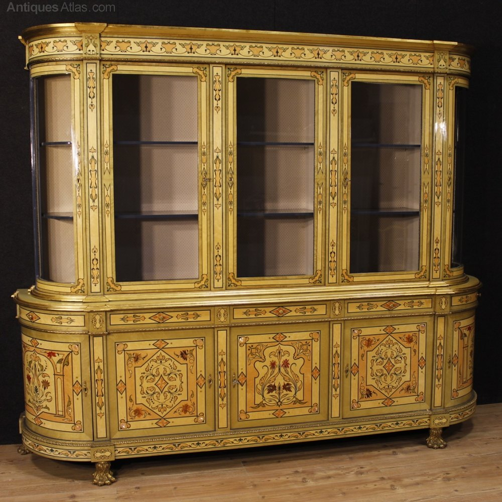 French Bookcase In Inlaid Wood With Gilt