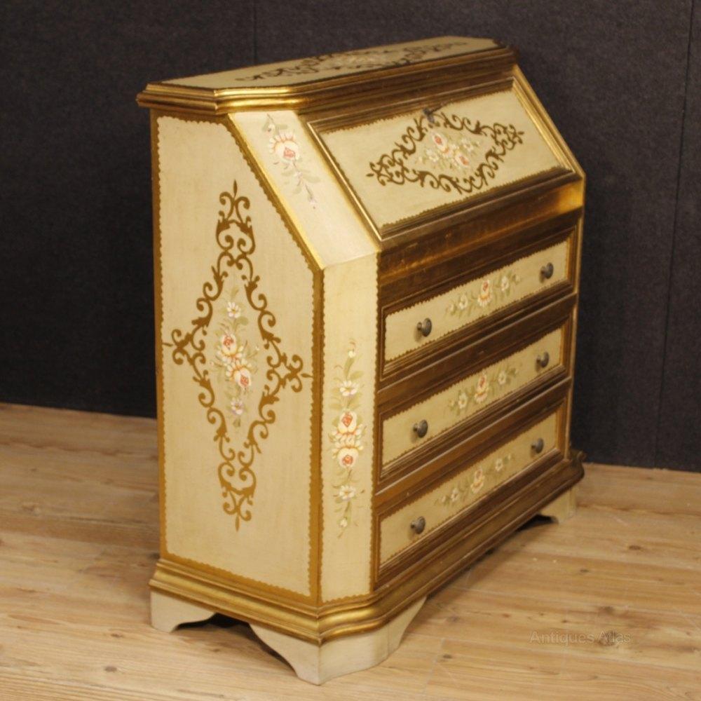 Antiques atlas italian lacquered painted gilt bureau for Italian painted furniture