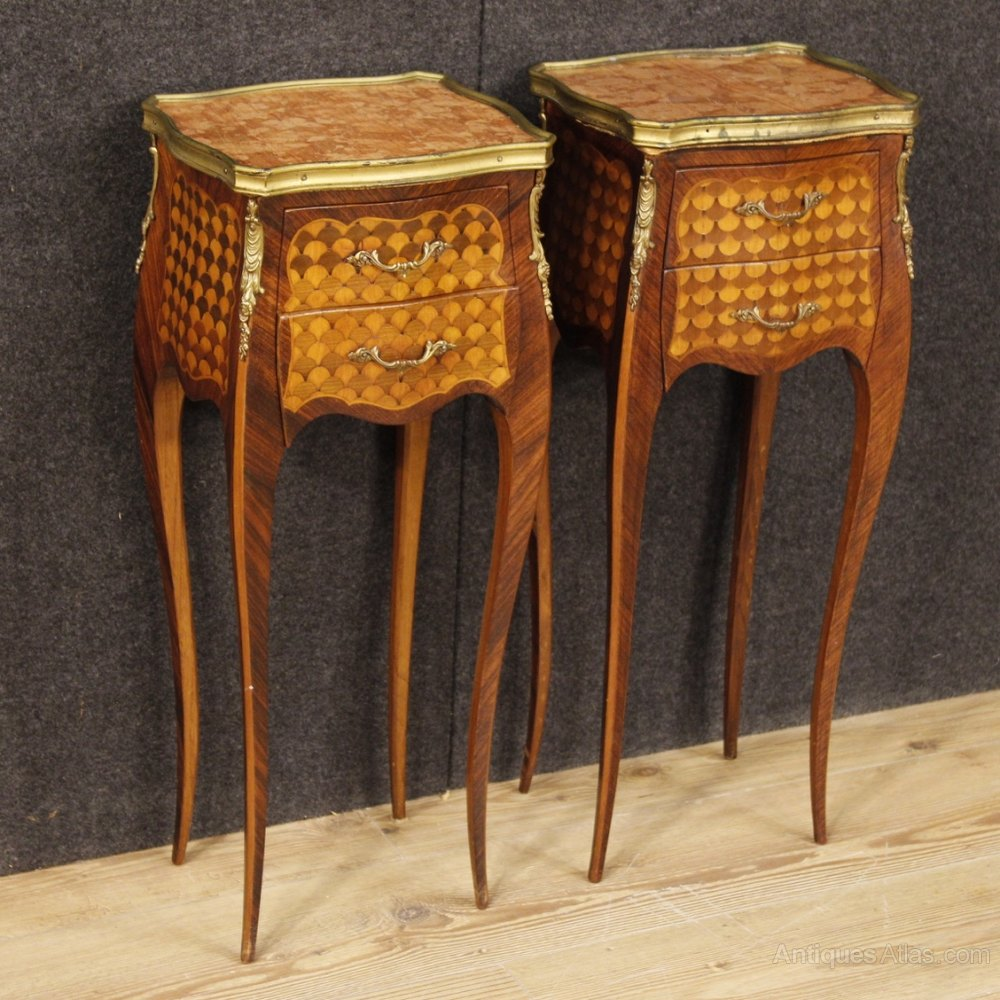Pair Of French Bedside Tables In Inlaid Wood ...