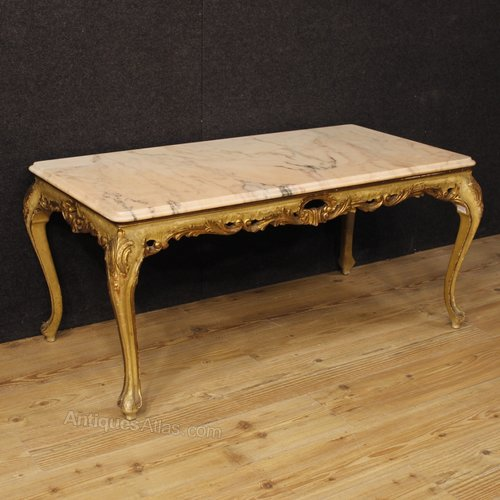 Marble Topped Gilt Coffee Table C 1920: Venetian Coffee Table In Lacquered And