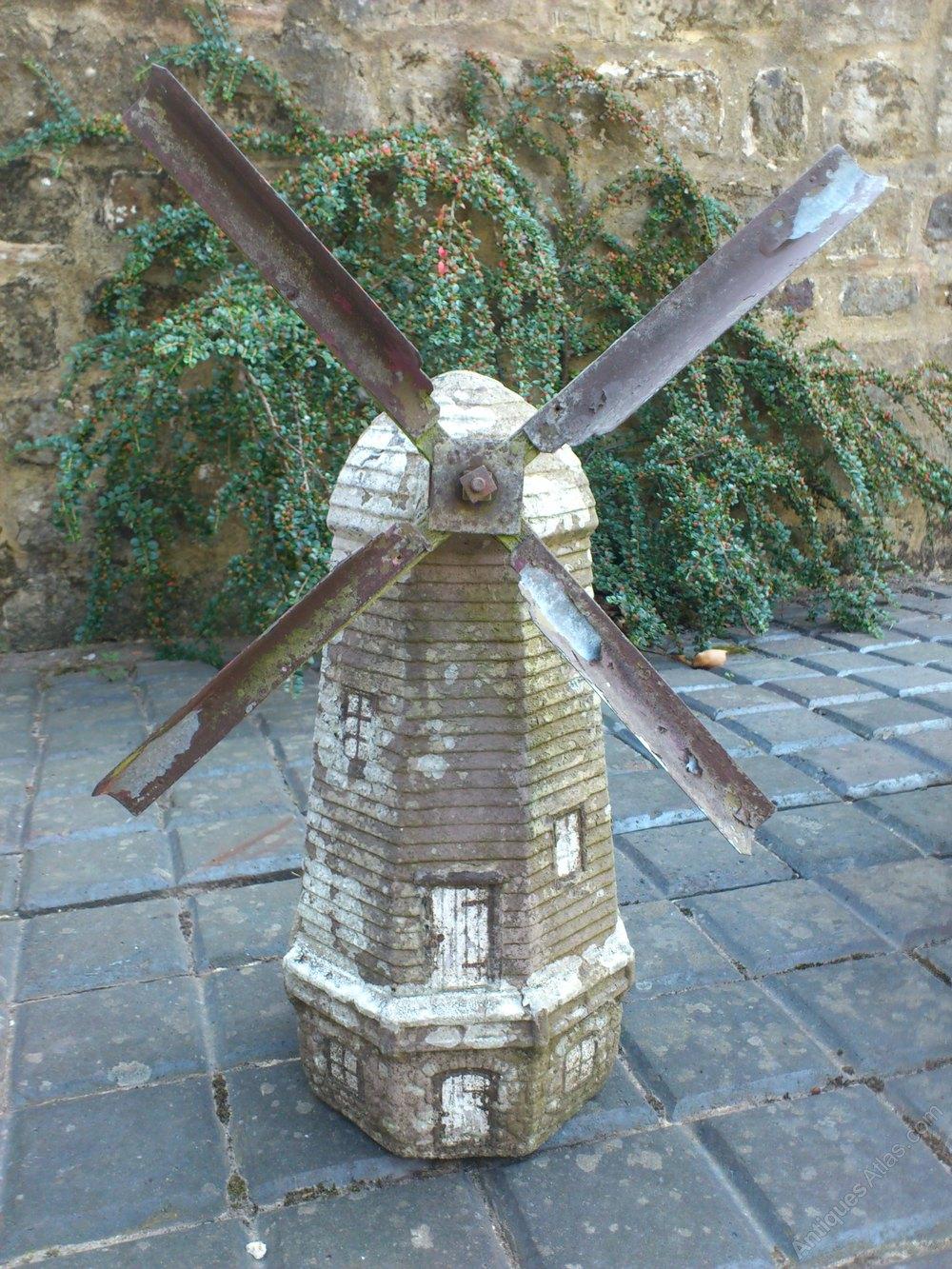 Folk Art Garden Windmill Carved And Ornamental Stone
