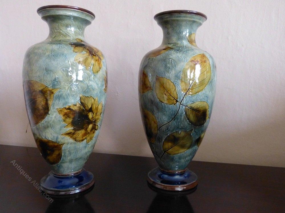 Antiques Atlas Royal Doulton Stoneware Natural Foliage Vases