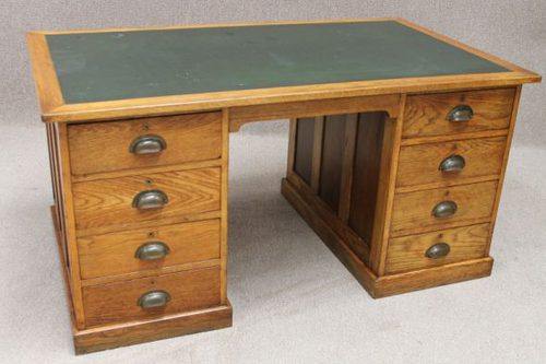 1920s Oak Office Desk Antique