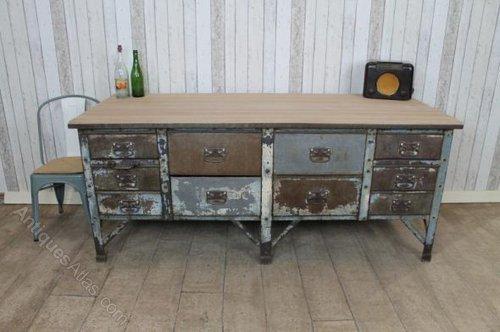 antiques atlas - 1930s metal sideboard kitchen island