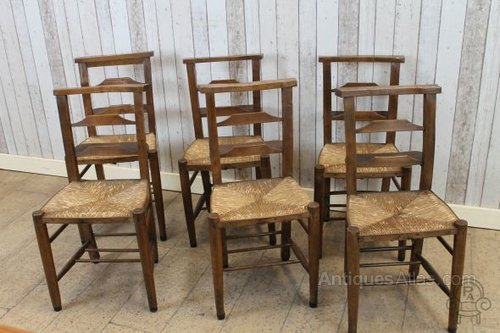 Antique Chapel Chairs With Rush Seats