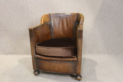 Art Deco Leather Tub Chair ...