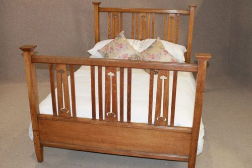 Antiques Antique Furniture Quality Walnut 1930s Carved Standard Double Bed Arts And Crafts Pretty And Colorful