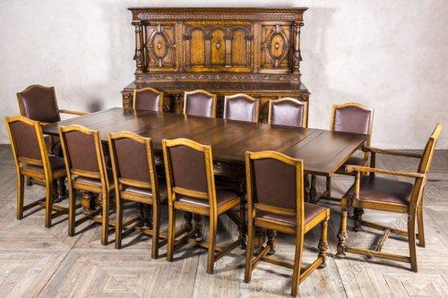 Captivating Edwardian Oak Dining Set Sideboard Extending Table ...