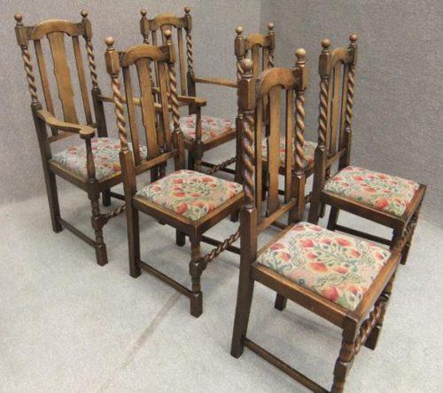 Edwardian Solid Oak Barley Twist Dining Chairs Antiques