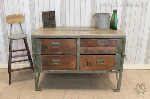Four Drawer Vintage Industrial Cabinet