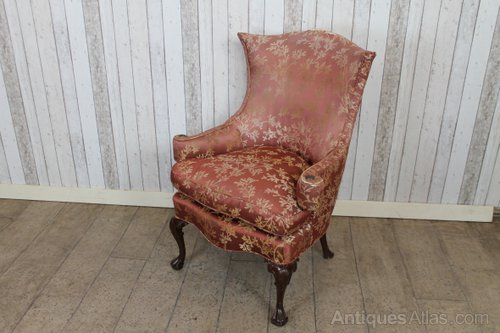Georgian Style Winged Armchair Fireside Chair Vintage Wing Chairs ... - Antiques Atlas - Georgian Style Winged Armchair Fireside Chair
