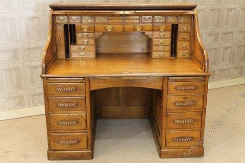 Original Victorian Solid Oak Roll Top Desk Antique