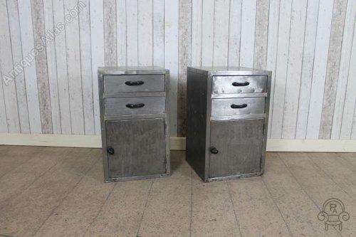Pair Of Metal Bedside Cabinets Vintage