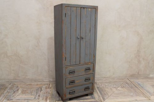 Antiques Atlas - Pine Hall Cupboard Robe Grey Painted Shabby Chic