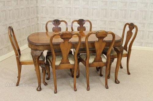 Queen Anne Style Dining Suite Table And Chairs Antique Suites