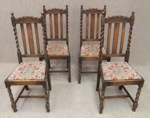 Genial Set Of 4 Oak Barley Twist Edwardian Dining Chairs ...