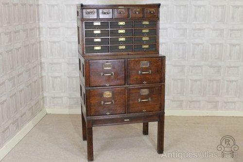 Solid Oak Edwardian Yawman & Erbe Filing Cabinet - Antiques Atlas