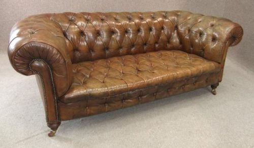 Victorian Leather Chesterfield Sofa Antique