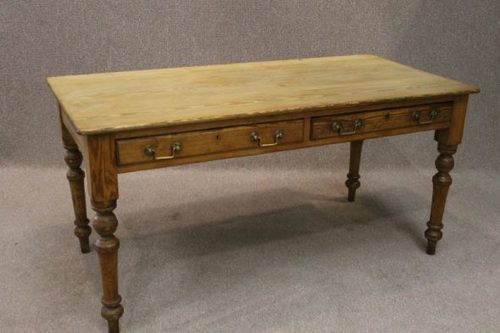 Victorian Pine Farmhouse Table With Two Drawers Antique ...