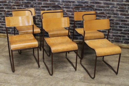 Vintage Cox Stacking Chairs Metal School Chairs ...