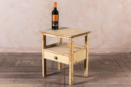 Antiques Atlas Vintage Cream Small Stool Lamp Table With Drawer
