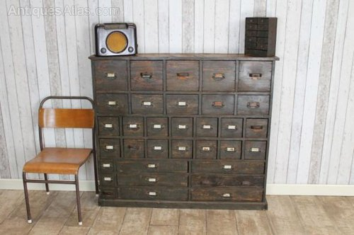 Vintage Industrial Bank Of Drawers ... - Antiques Atlas - Vintage Industrial Bank Of Drawers