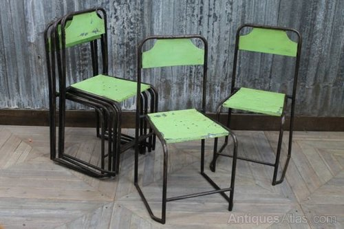 Vintage Metal Stacking Chair In Green