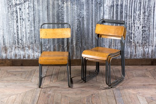Vintage Metal And Plywood Stacking Chairs