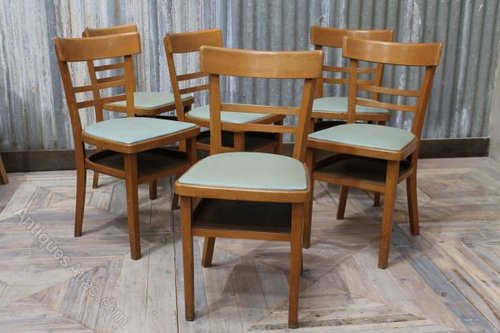 Awesome Vintage Wooden Cafe Chairs With Blue Upholstered