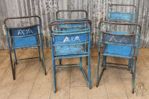 Vintage Blue Metal Stacking Chairs Cafe Chairs Industrial Chairs And Stools  ...