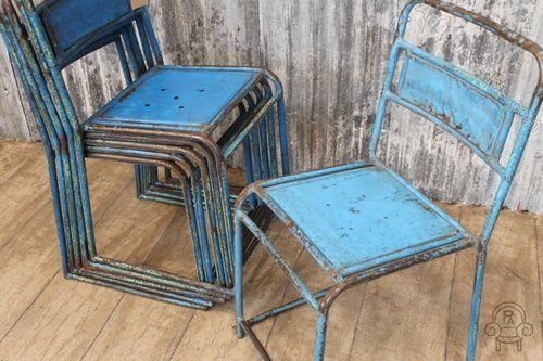 Vintage Blue Metal Stacking Chairs Cafe Chairs Industrial Chairs And Stools  Vintage Industrial ...