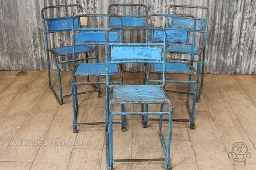 Genial Vintage Blue Metal Stacking Chairs Cafe Chairs