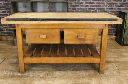 antiques atlas - vintage kitchen island work bench table