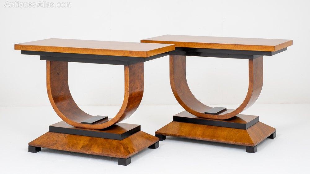 Absolutely Stunning Pair Of Walnut Art Deco Consol ...
