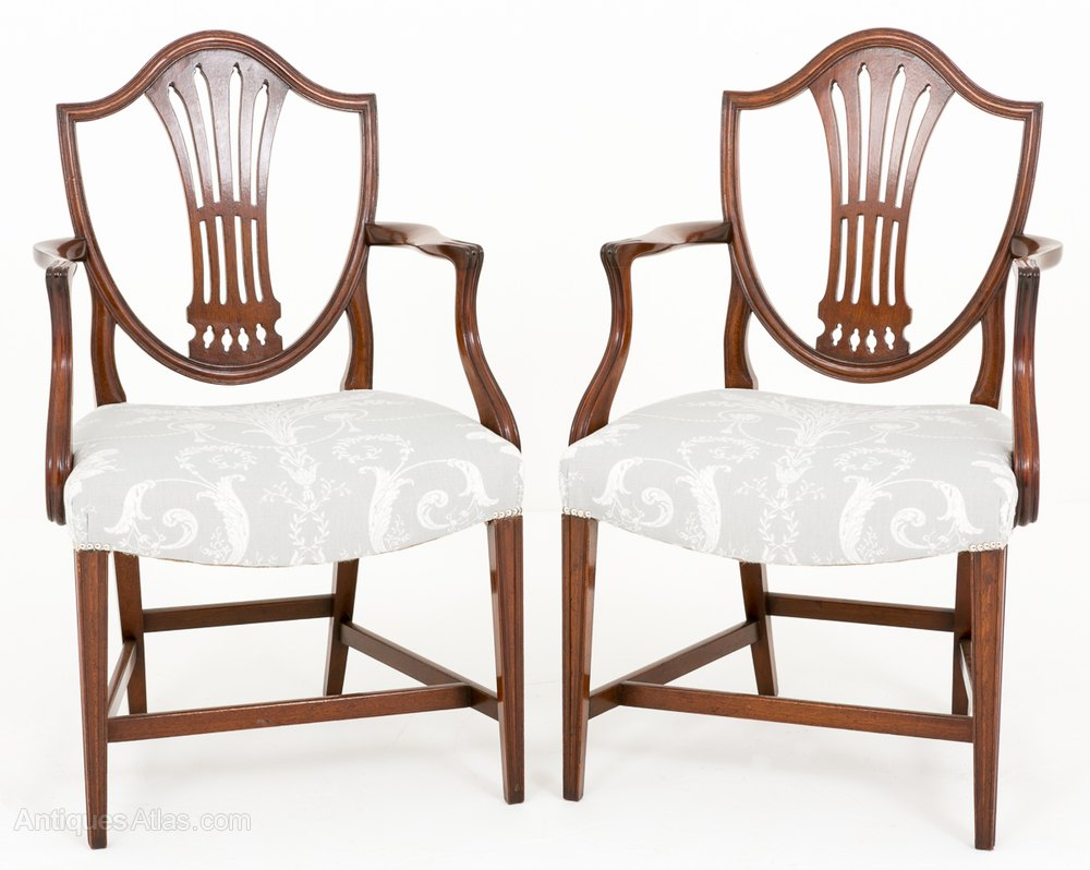Pair Of Hepplewhite Style Carver Chairs ...