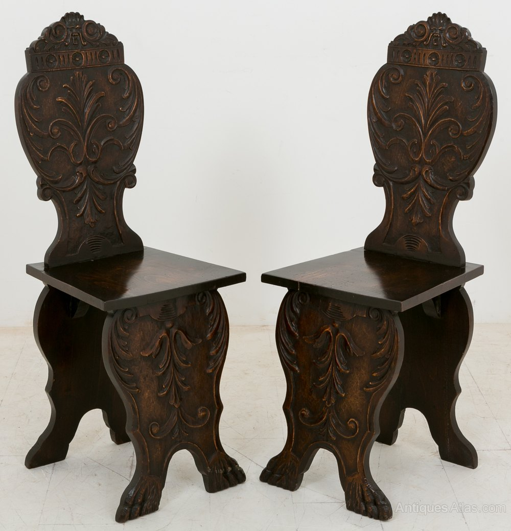 Pair of Lime Wood Carved Italian Hall Chairs Antique ... - Pair Of Lime Wood Carved Italian Hall Chairs - Antiques Atlas