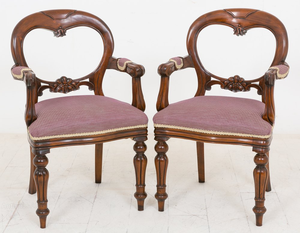 Pair Of Victorian Style Carver Chairs Antiques Atlas