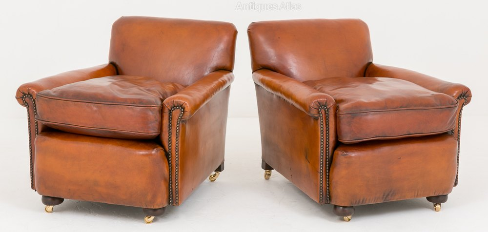 Pair Of Victorian Leather Club Chairs Antique Club Chairs ...
