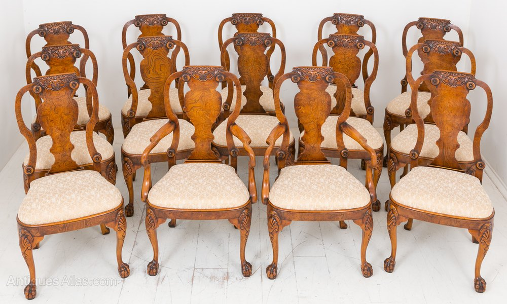 Set Of 14 Burr Elm Queen Anne Style Chairs ...