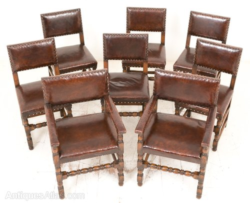 Set Of 8 Oak Jacobean Style Dining Chairs