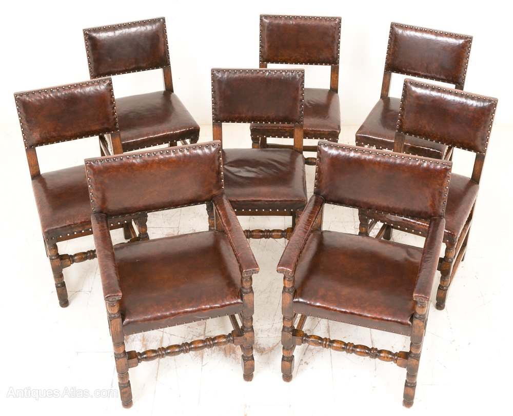 Set Of 8 Oak Jacobean Style Dining Chairs ...