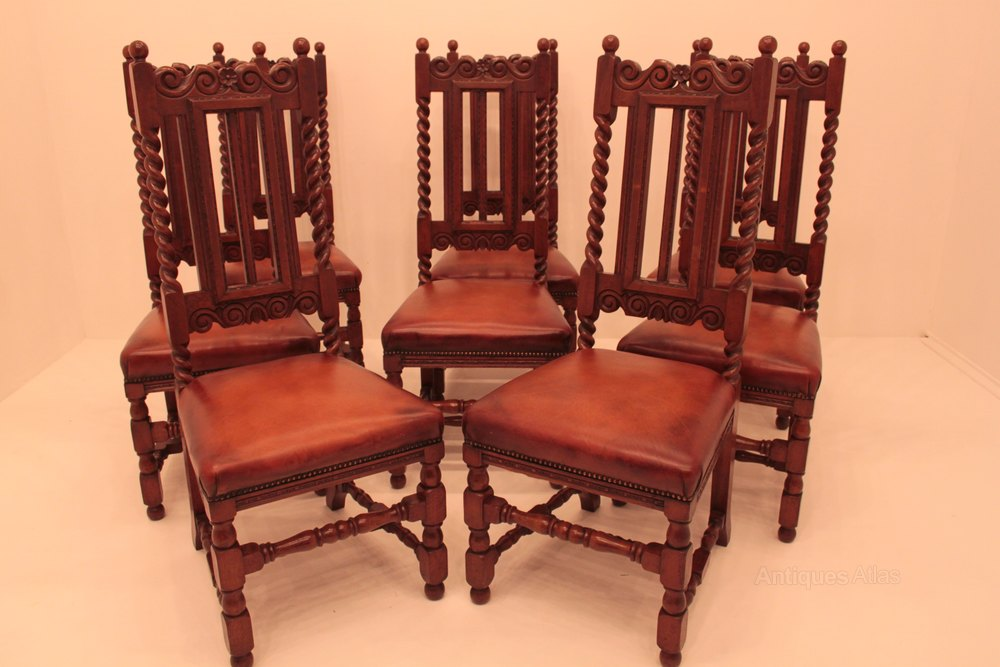 Set Of 8 Oak Victorian Barley Twist Dining Chairs ...