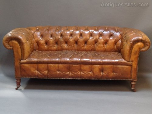 Bon 19th Century Leather Button Back Chesterfield Sofa ...