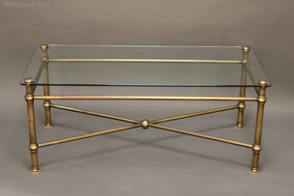 Good 20thc Glass And Brass Coffee Table Antique Coffee Tables