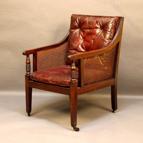 Regency Bergere Library Chair Antique Library Chairs - Regency Bergere Library Chair - Antiques Atlas