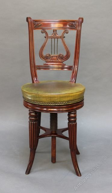 Regency Mahogany Lyre Back Harpist Piano Chair ...