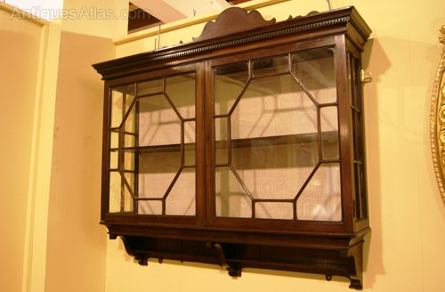 Pr Of Edwardian Mahogany Wall Hanging Display Cabinets Antique
