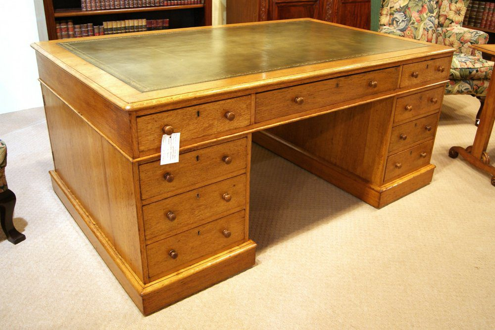 Victorian Golden Oak Partners Desk Antique ... - VICTORIAN GOLDEN OAK PARTNERS DESK - Antiques Atlas